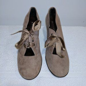 Women's T-strap Suede Leather Beige Shoes Size 8.5